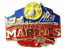 US Marines Military Red Blue Yellow Belt Buckle Collectible United States New