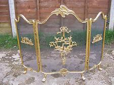 Vintage rococò stile vittoriano francese in ottone Fuoco Pieghevole Schermo Piccioncini