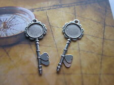 2pcs antique silver keys cabochon settings wedding vintage round tray pendants