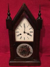 Antique American Steeple Gothic Walnut Victorian Mantle Clock Fancy Case