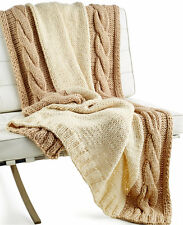Hotel Collection Chunky Knit Throw Blanket Ivory MSRP $300 Y1198