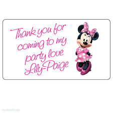 20 x Large Minnie Mouse Personalised Birthday Thank You Party Bag Stickers - 211