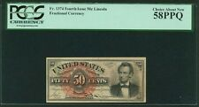"1869-75 50 CENT FRACTIONAL CURRENCY FR1374 ""LINCOLN"" PCGS CHOICE ABOUT NEW-58PPQ"