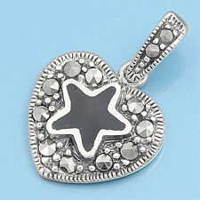 Black Star in Heart with Marcasite Pendant Sterling Silver 925 Vintage Jewelry
