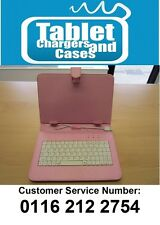 """Pink Micro USB Keyboard Case/Stand for 9"""" Android Tablet PC"""