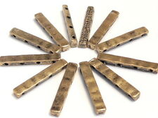 12 - 2 HOLE OR 4 HOLE METAL SLIDER BEADS HAMMERED LOOK ANTIQUED BRASS PLATED