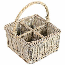 Light Brown Willow Cutlery Caddy Oil Vinegar Bottle Jar Basket Storage Holder