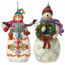 Heartwood Creek Set of 2 Snowmen Hanging Ornaments by Jim Shore NEW  23331