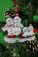PERSONALISED CHRISTMAS TREE DECORATION/ORNAMENT  SNOW SLED  FAMILY 4