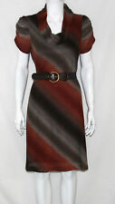 Signature by Robbie Bee New Brown Multi Cowl Neck Belted Knit Dress Small