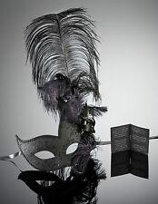 original venezianische Maske mit Federn in Schwarz Karneval Maskenball Handmade