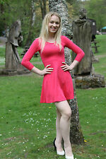 Ladies Sze 10 EX Chainstore Atmosphere Lightweight Cropped Sleeve Hot Pink Dress