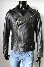 ITALIAN HANDMADE MEN SOFT LAMBSKIN LEATHER MOTO BIKER JACKET BLACK SIZE XL