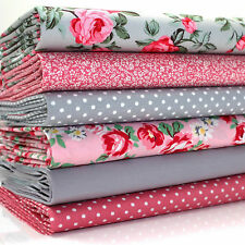 6 x FQ BUNDLE - PINK & GREY FLORAL BEAUTY - 100% COTTON FABRIC dots roses