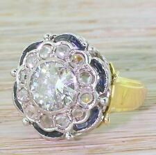 ART DECO 1.97ct OLD EUROPEAN CUT, ROSE CUT DIAMOND & SAPPHIRE RING - 18k Gold