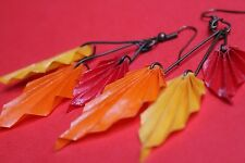 Orecchini Origami Foglie autunnali - Earrings Leaf Autunn Origami Handmade