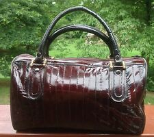 Vintage Genuine Eel Skin Leather Purse Handbag Doctor Style Tote Hobo