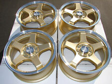15 4x114.3 4x100 gold Wheels Fits Integra Accord Miata Elantra Civic Galant Rims