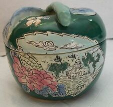 Apple Trinket Dish Jar with Oriental House Boats Flowers Vintage Porcelain