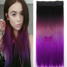 """24"""" Straight Curly Wavy Clip in Hair Extensions & Ponytail Ombre Dip Dye"""