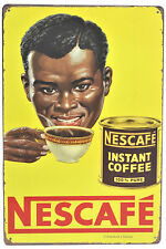 """Retro 12"""" Vintage-Style Distressed Nescafe Instant-Coffee Metal Wall Sign Plaque"""