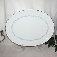 "SANGO ARABESQUE LARGE SERVING PLATTER 14"" VINTAGE MEAT PLATE PLATINUM RIM JAPAN"