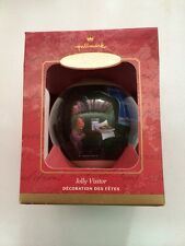 2001 Hallmark JOLLY VISITOR Ornament GLASS BALL SANTA CLAUS New IN BOX VINTAGE