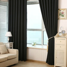 Luxury Thermal Blackout Curtains Grommet Heavy Thick Panels Eyelet Pleat 2 Pcs