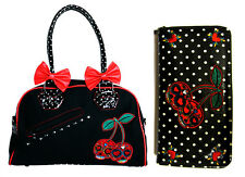 Banned Cherry Bomb Sugar Skull Bow Polka Dot Rockabilly Handbag & Wallet Set