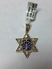 JEWISH STAR 18K YELLOW GOLD WITH DIAMONDS AND ENEMAL