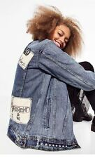 Zara AW16 Oversized Studded Denim Jacket Patch Detail Size S Uk 8/10 Genuine