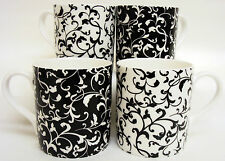Venetian Mugs Set of 4 Bone China Black & White Mugs Hand Decorated in UK