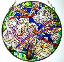 "AMIA STAINED GLASS SUNCATCHER DRAGONFLIES MOSAIC DRAGON FLY 6.5"" ROUND  #5888"