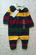 Ralph Lauren Polo Romper Long Sleeve Stripey 100% Cotton Babygrow  (0-3 Months)