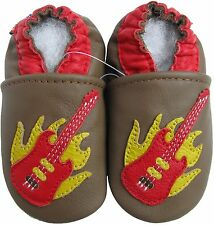 carozoo guitar brown 6-7y soft sole leather kids shoes slippers