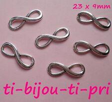 LOT de 12 CONNECTEURS INFINITY INFINI 23 x 8mm ARGENTES bracelets sautoir perles