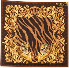 "VERSACE brown & beige TIGERS with MEDUSA medals 34""-square Silk scarf NWT Authen"