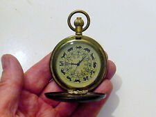 Interesting Brass Pocket Watch -Dial Decorated With Signs Of Zodiac