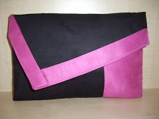 OVER SIZED  PINK & BLACK Faux Suede asymmetrical clutch bag, made in UK