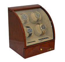 Pangaea Quad 4 Automatic Watch Winder Rotator Wood Storage Case Dark Brown Q400