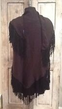 Beautiful Black Suede Fringe Trim Wrap Shawl Poncho Scarf Cape **LAST ONE**