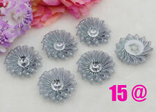 5pcs DIY Silver Satin Ribbon Flower with Crystal Appliques Craft Supplies Trim