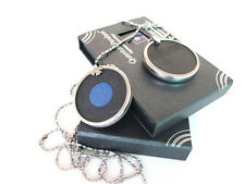 Blue Enamel Scalar Bio Energy Pendant + Metal Case + Chain Necklace BNIB