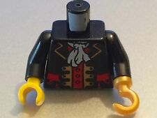 *NEW* Lego Minifig Pirate BLACK Torso PIRATE CAPTAIN with 1 Pearl Gold HOOK