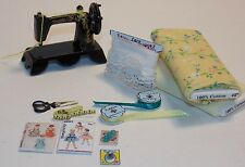 Dollhouse Miniature Sewing Machine & Fabric Bolt Set #5 1:12 One Inch Scale D46