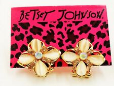 NWT Betsey Johnson Amber Gold Crystal & Opal Stud Omega Back Style Earrings