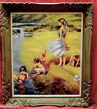"Oil Painting on Canvas in Antique Style 22x18"" Frame-Playing on the River Bank"