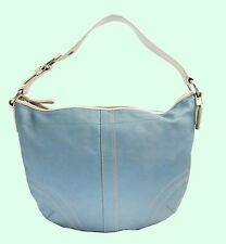 COACH 10907 SOHO Light Blue & white Leather Hobo Shoulder Bag Msrp $298.00