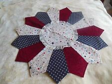 4th of July Handmade Large Quilted Table Topper, red white and blue stars, patri