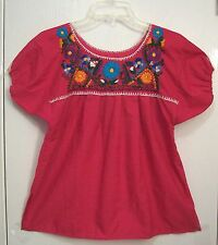 Vintage EMBROIDERED Fuscia PINK Hippie MEXICAN Peasant Top FESTIVAL Blouse/S
